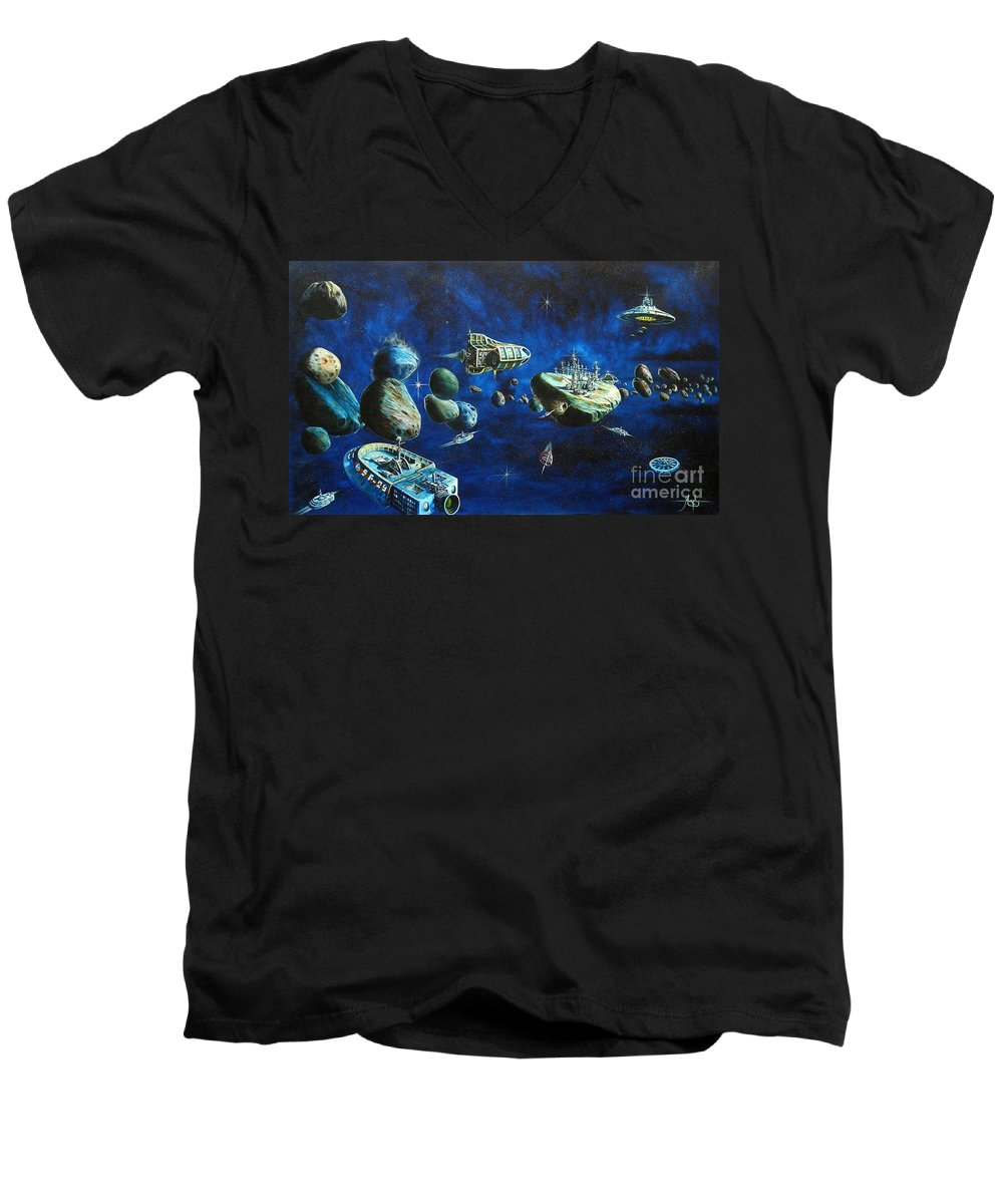 Fantasy Men's V-Neck T-Shirt featuring the painting Asteroid City by Murphy Elliott