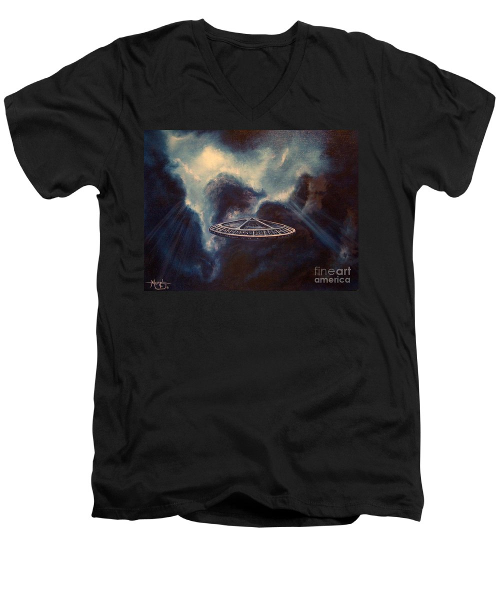 Si-fi Men's V-Neck T-Shirt featuring the painting Atmospheric Arrival by Murphy Elliott