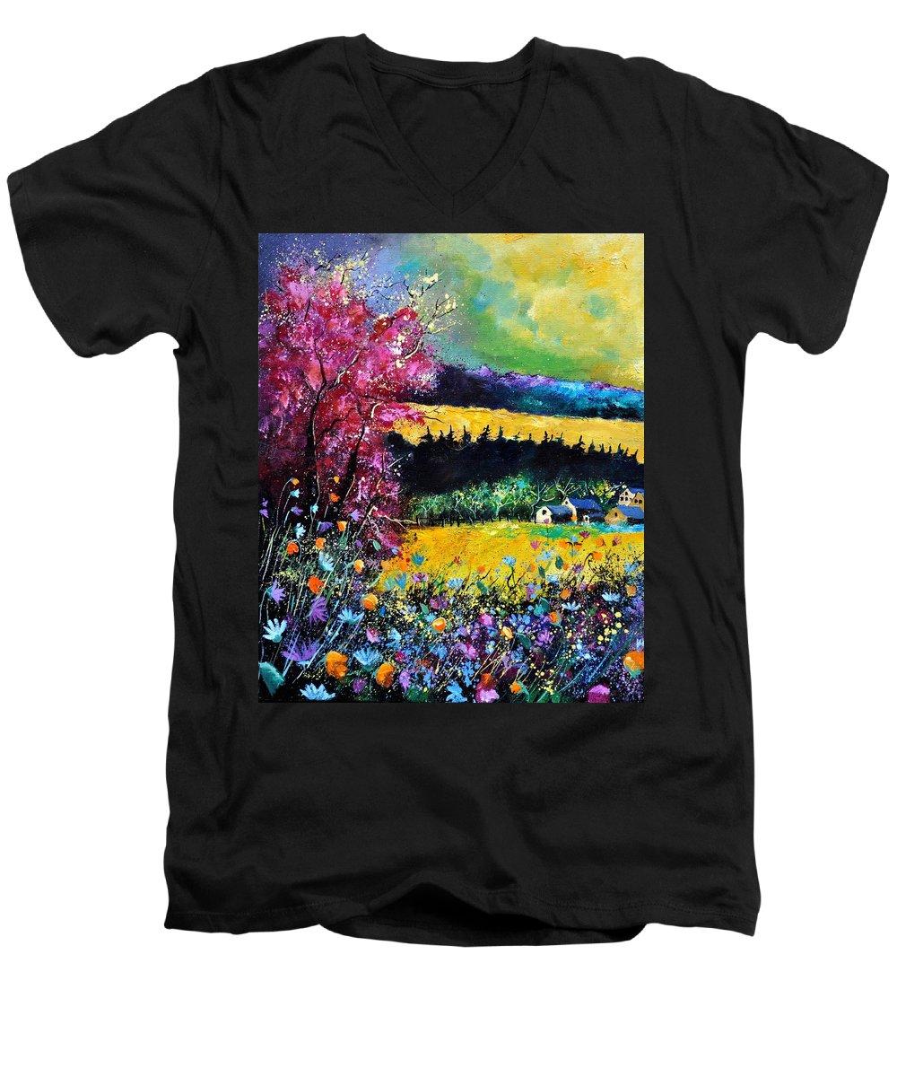 Landscape Men's V-Neck T-Shirt featuring the painting Autumn Flowers by Pol Ledent