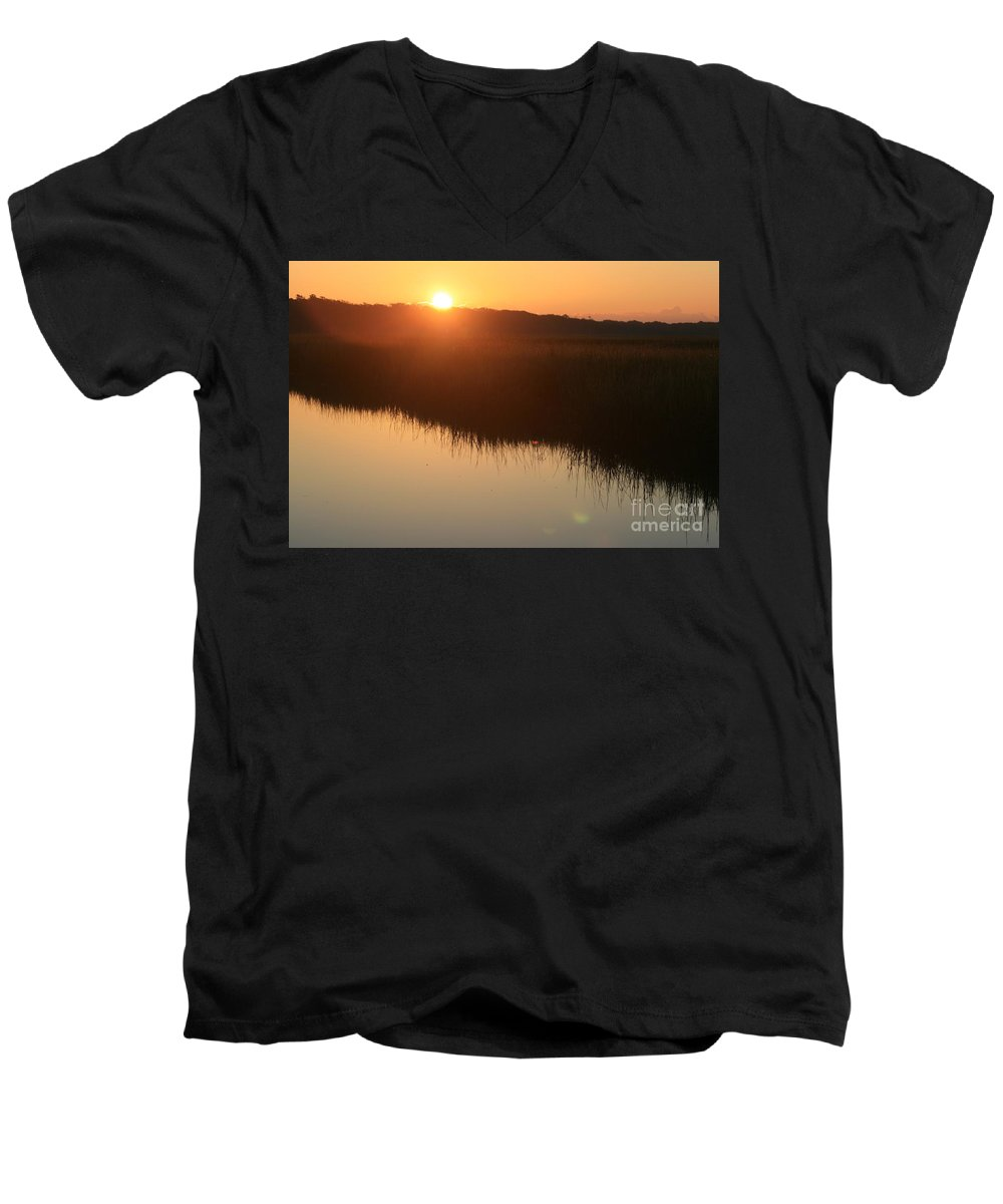 Sunrise Men's V-Neck T-Shirt featuring the photograph Autumn Sunrise Over The Marsh by Nadine Rippelmeyer