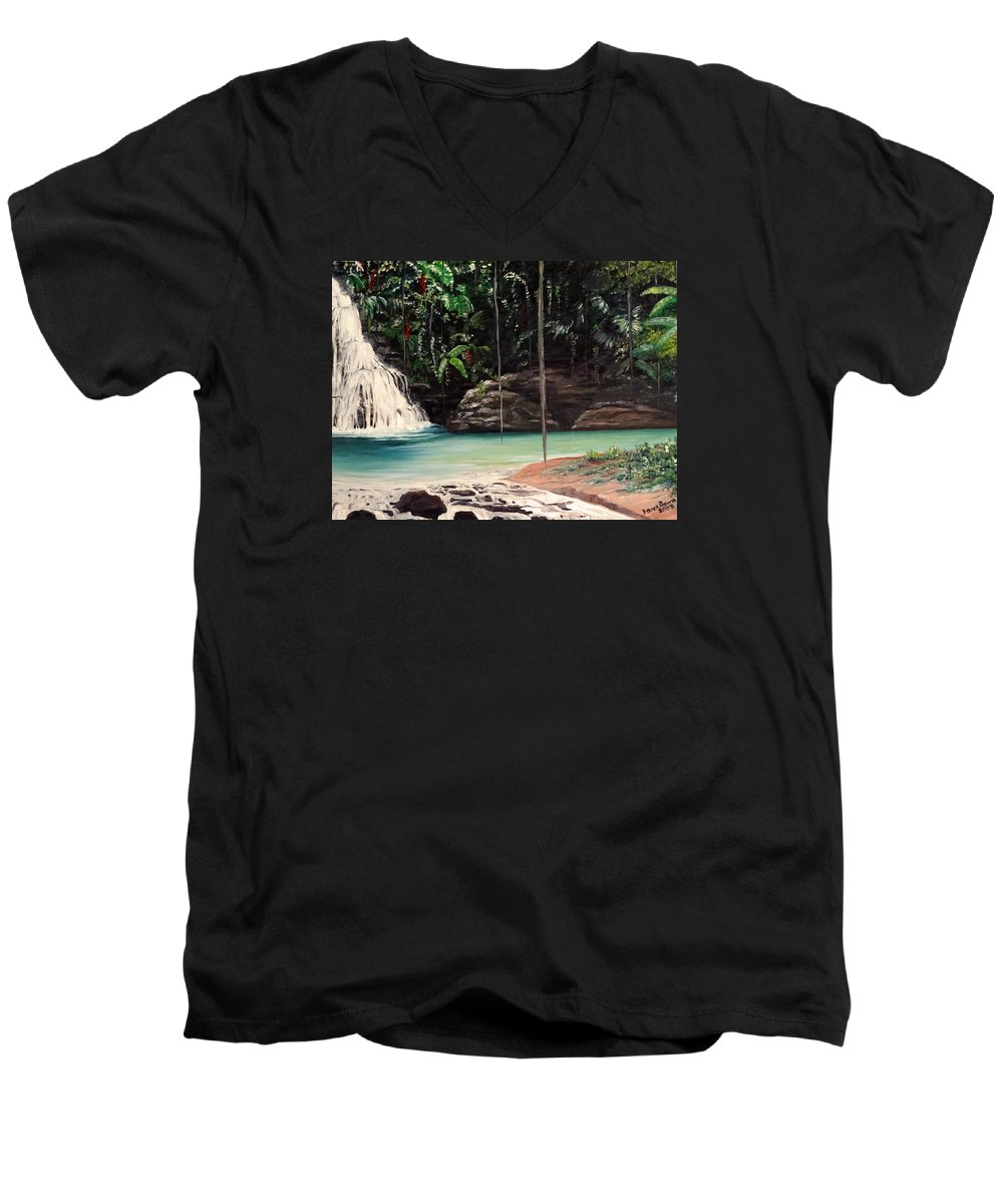 Tropical Waterfall Men's V-Neck T-Shirt featuring the painting Blue Basin by Karin Dawn Kelshall- Best