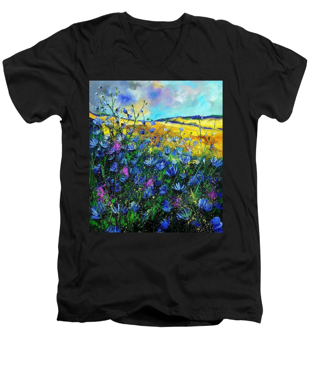 Flowers Men's V-Neck T-Shirt featuring the painting Blue Wild Chicorees by Pol Ledent