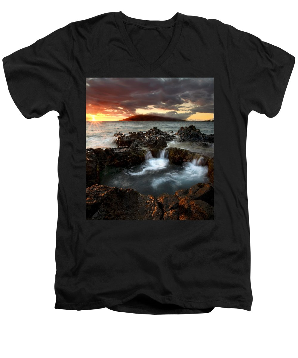Sunset Men's V-Neck T-Shirt featuring the photograph Bubbling Cauldron by Mike Dawson