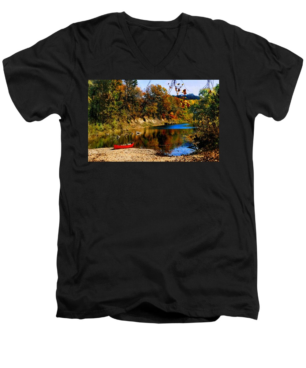 Autumn Men's V-Neck T-Shirt featuring the photograph Canoe On The Gasconade River by Steve Karol
