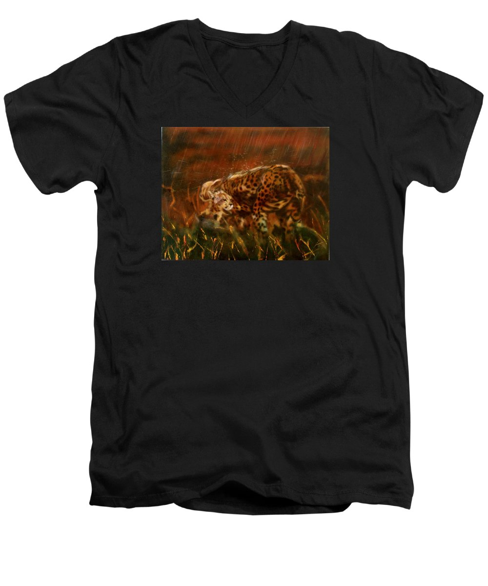 Rain;water;cats;africa;wildlife;animals;mother;shelter;brush;bush Men's V-Neck T-Shirt featuring the painting Cheetah Family After The Rains by Sean Connolly