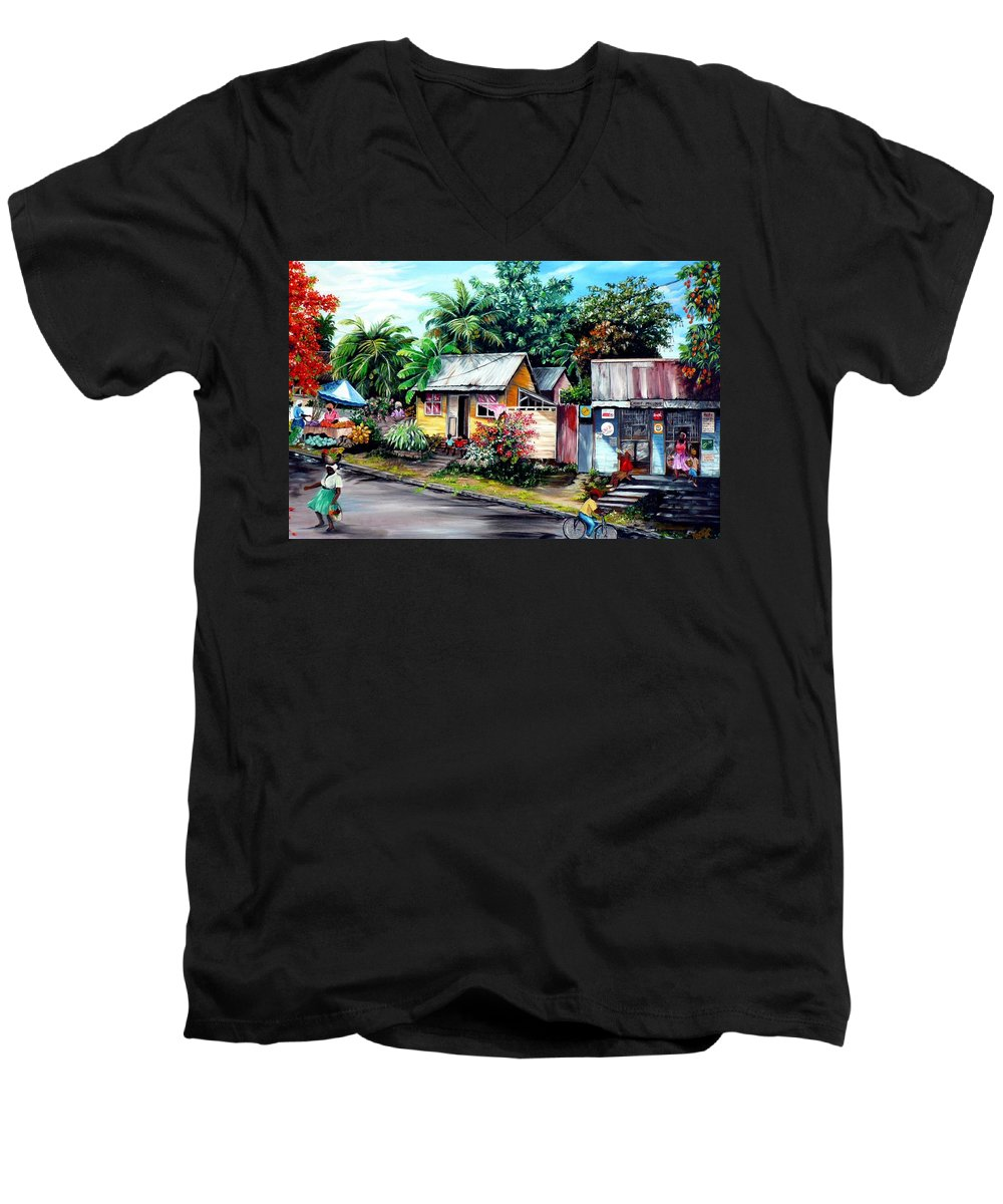 Landscape Painting Caribbean Painting Shop Trinidad Tobago Poinciana Painting Market Caribbean Market Painting Tropical Painting Men's V-Neck T-Shirt featuring the painting Chins Parlour   by Karin Dawn Kelshall- Best