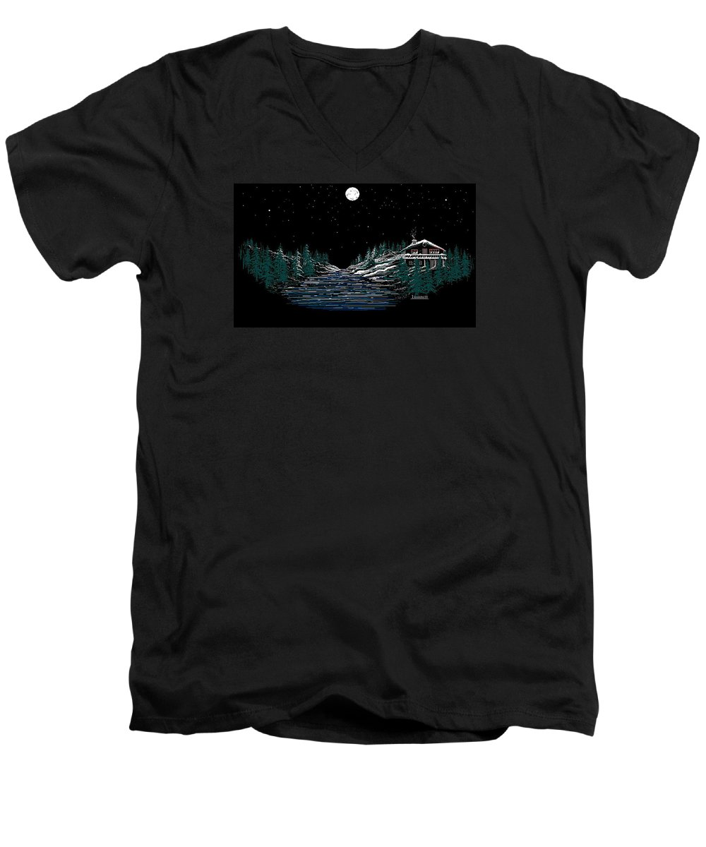 Cold Mountain Winter Men's V-Neck T-Shirt featuring the digital art Cold Mountain Winter by Larry Lehman