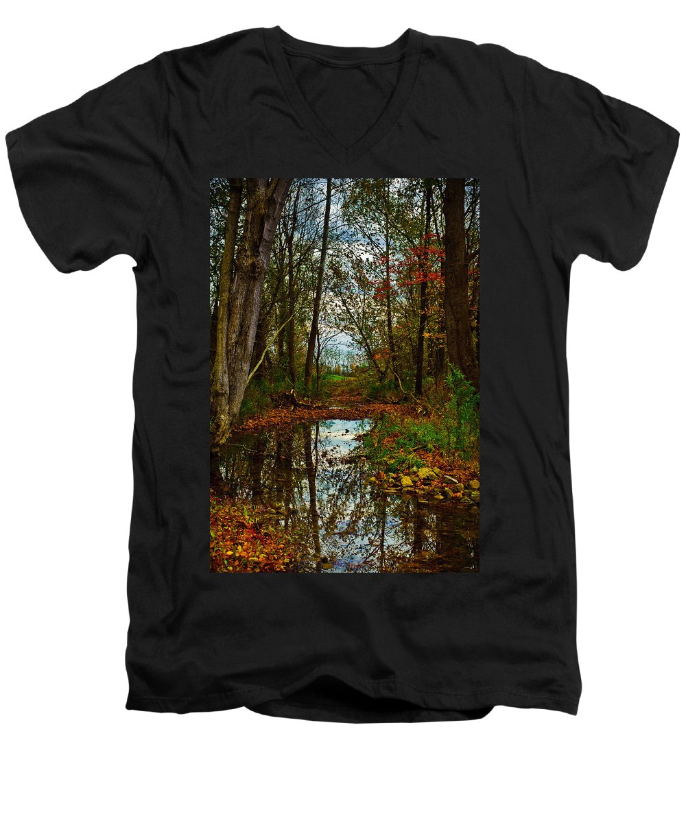Landscape Men's V-Neck T-Shirt featuring the photograph Colors Of Fall by Kristi Swift