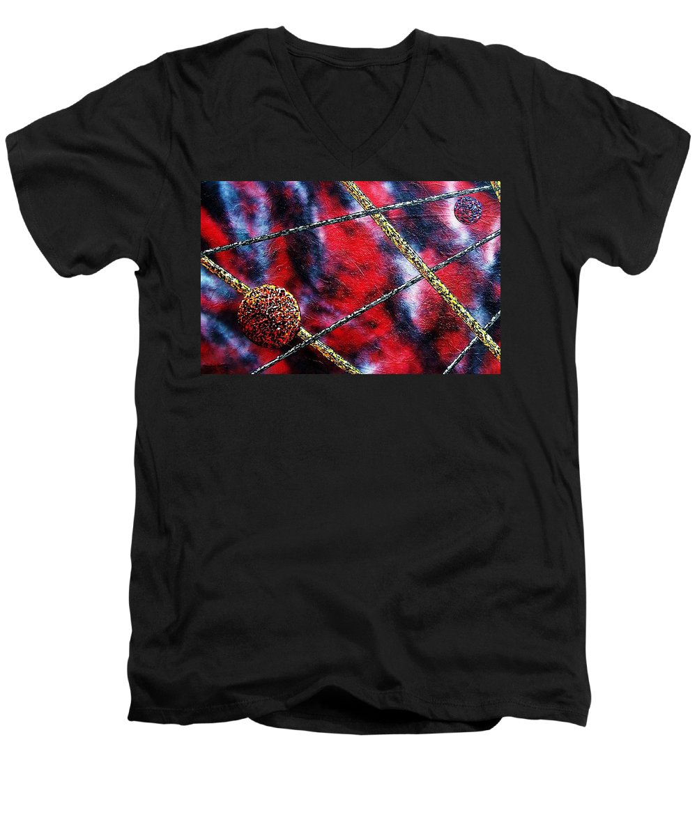 Abstract Men's V-Neck T-Shirt featuring the painting Continuum Iv Red Sky by Micah Guenther