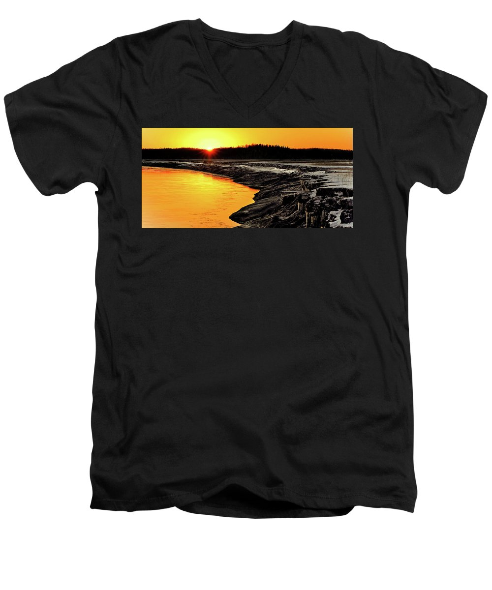 Alaska Men's V-Neck T-Shirt featuring the photograph Contrasts In Nature by Ron Day