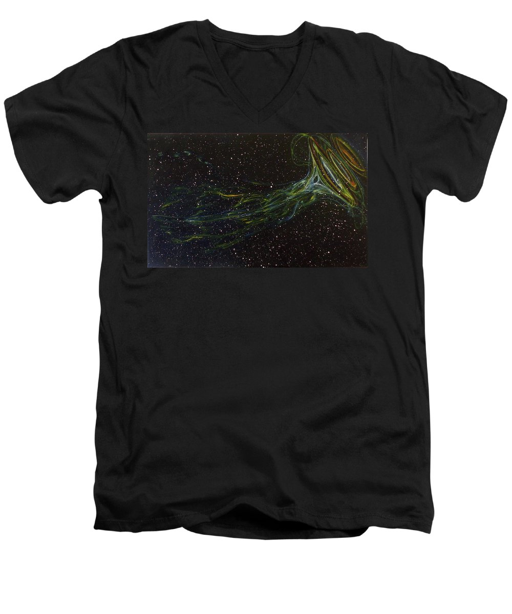 Abstract Men's V-Neck T-Shirt featuring the painting Death Throes by Sean Connolly