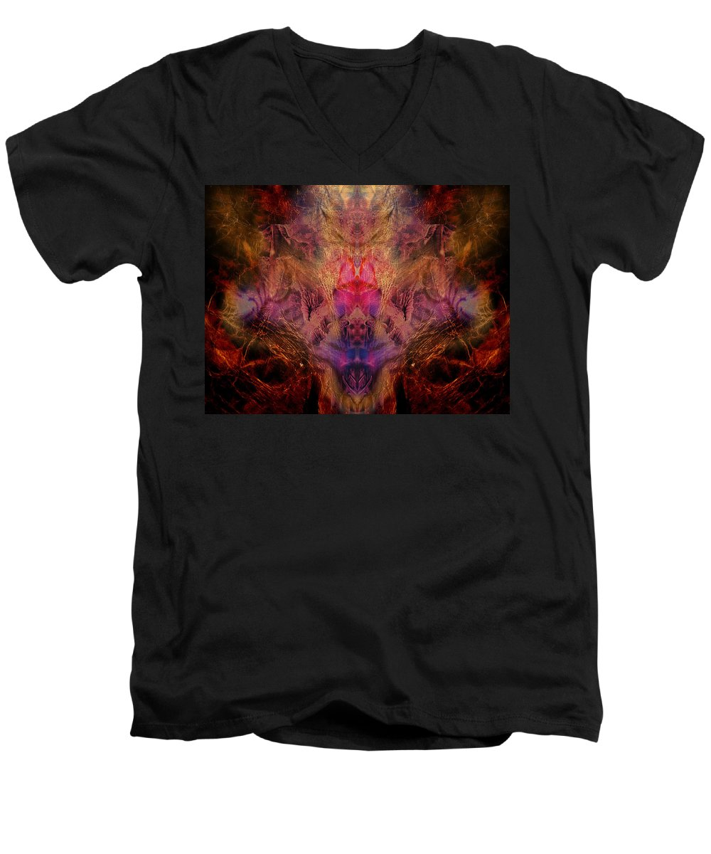Digital Men's V-Neck T-Shirt featuring the digital art Decalcomaniac Mirror by Otto Rapp