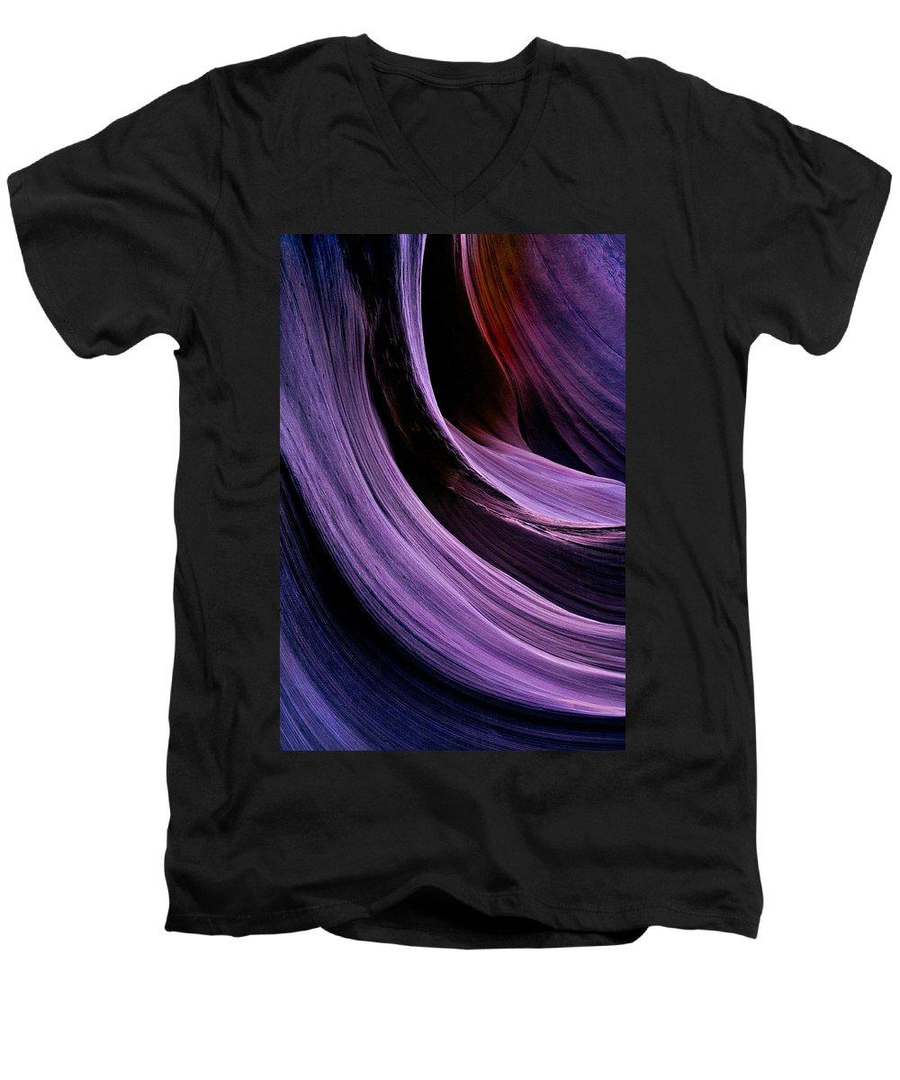 Desert Men's V-Neck T-Shirt featuring the photograph Desert Eclipse by Mike Dawson