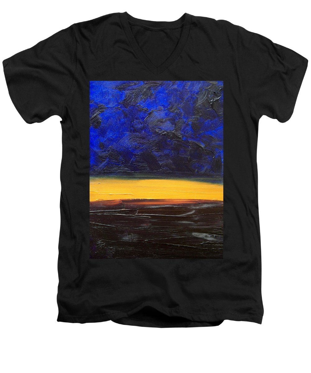 Landscape Men's V-Neck T-Shirt featuring the painting Desert Plains by Sergey Bezhinets