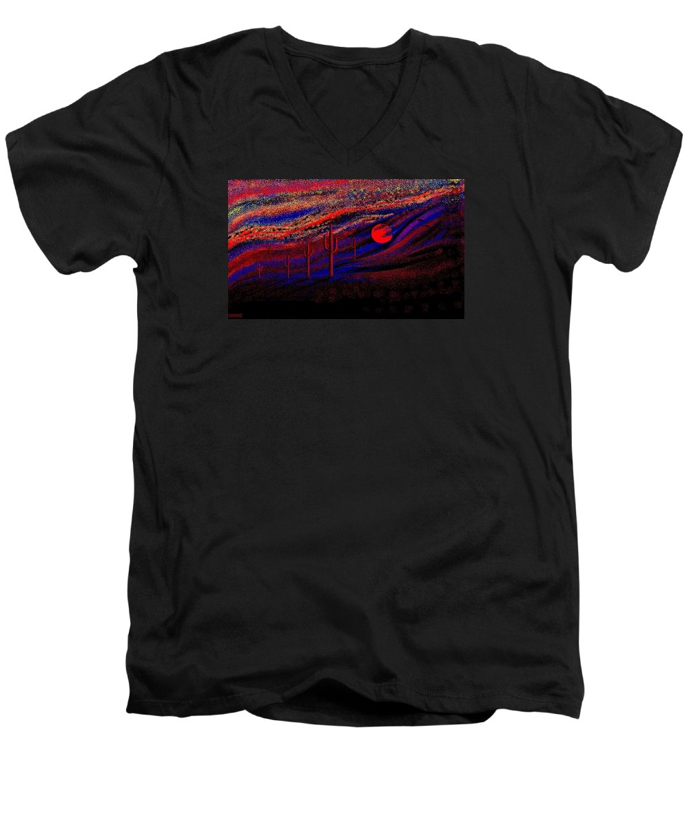 Desert Sunset Quickly Sketched In Four And Half Hours.... Men's V-Neck T-Shirt featuring the digital art Desert Sunset by Larry Lehman