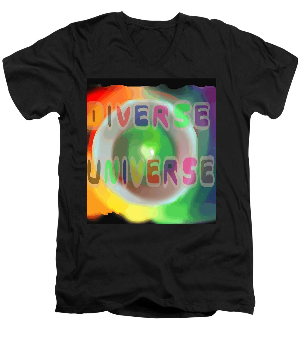 Diverse Men's V-Neck T-Shirt featuring the painting Diverse Universe by Pharris Art