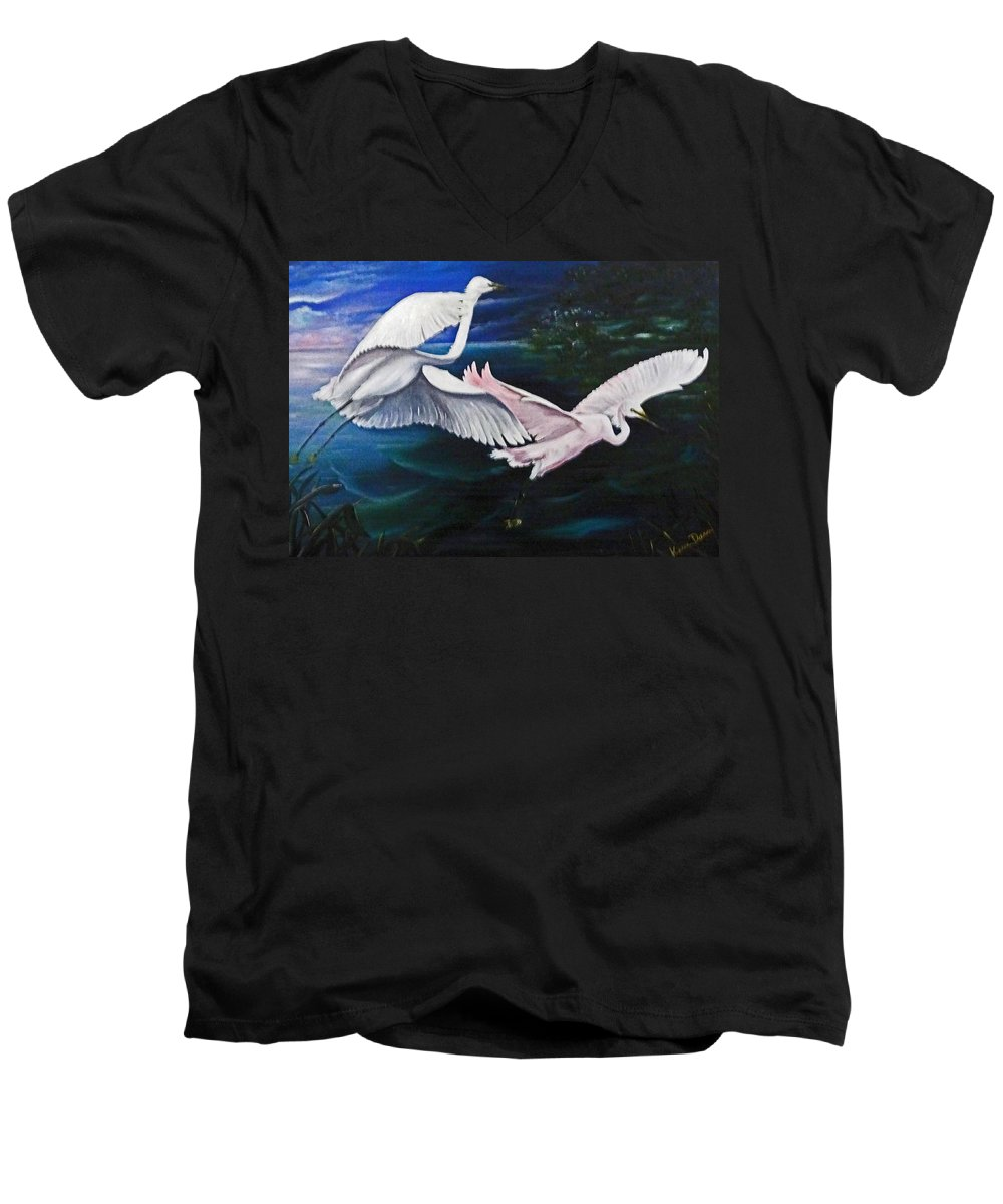 Snowy Egrets Men's V-Neck T-Shirt featuring the painting Early Flight by Karin Dawn Kelshall- Best