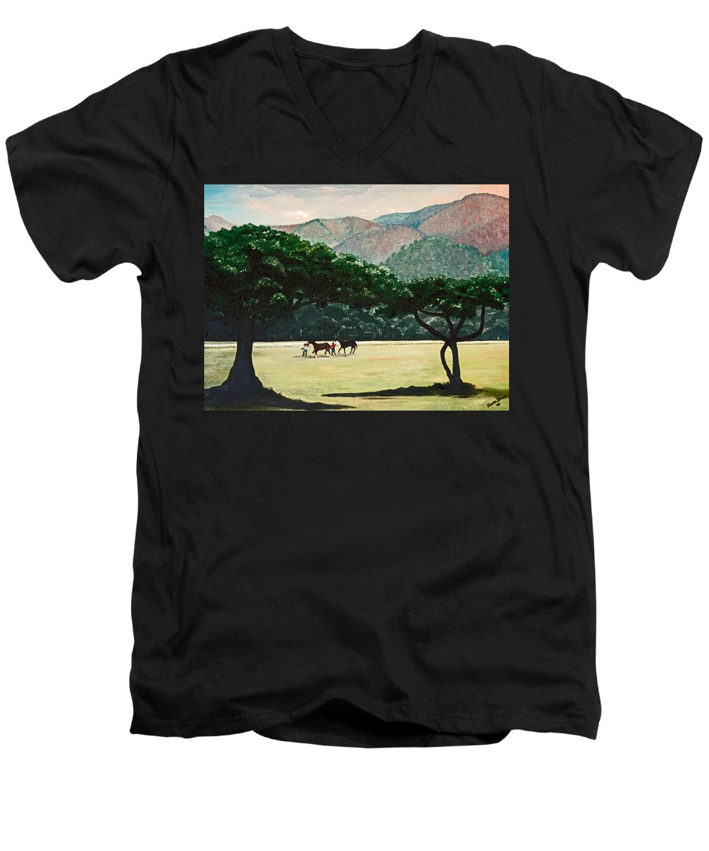 Trees Men's V-Neck T-Shirt featuring the painting Early Morning Savannah by Karin Dawn Kelshall- Best