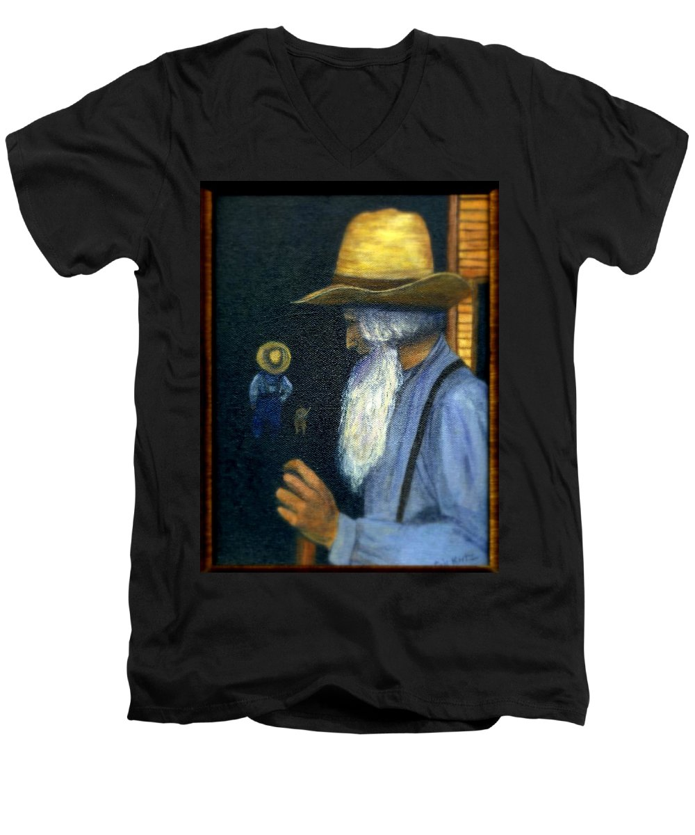 Men Men's V-Neck T-Shirt featuring the painting Eli Remembers by Gail Kirtz