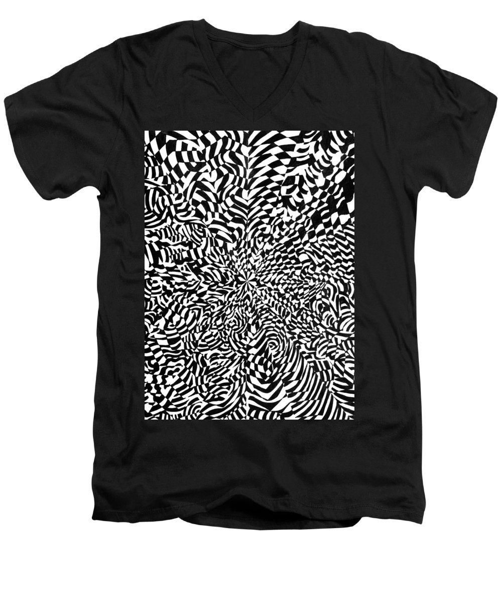 Abstract Men's V-Neck T-Shirt featuring the drawing Entangle by Crystal Hubbard