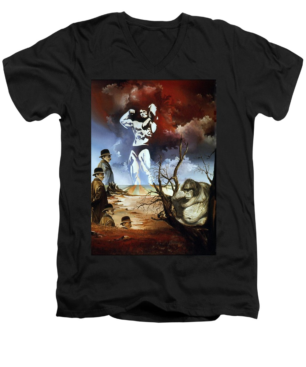 Surrealism Men's V-Neck T-Shirt featuring the painting Evolution by Otto Rapp