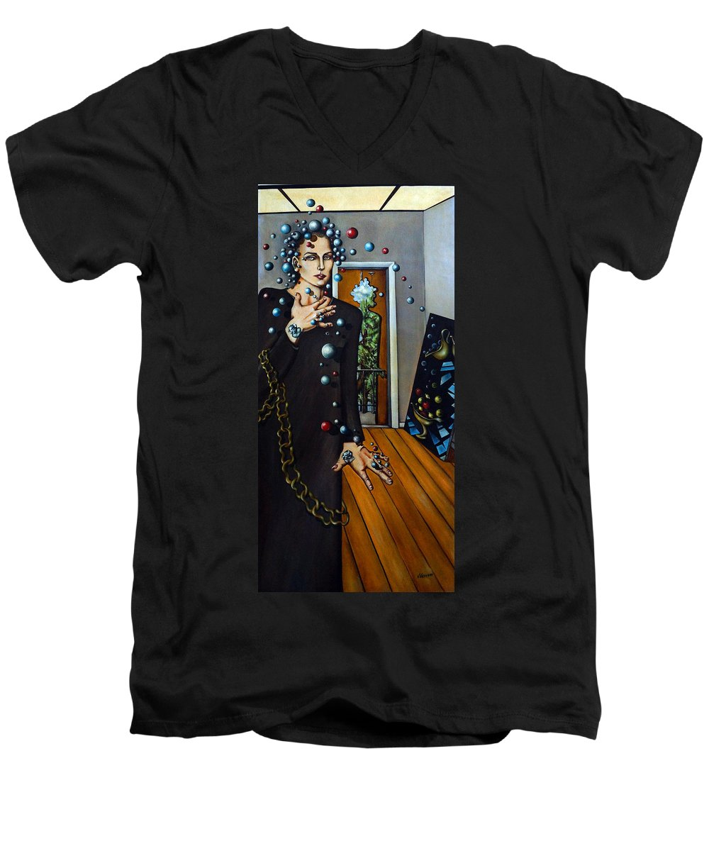 Surreal Men's V-Neck T-Shirt featuring the painting Existential Thought by Valerie Vescovi