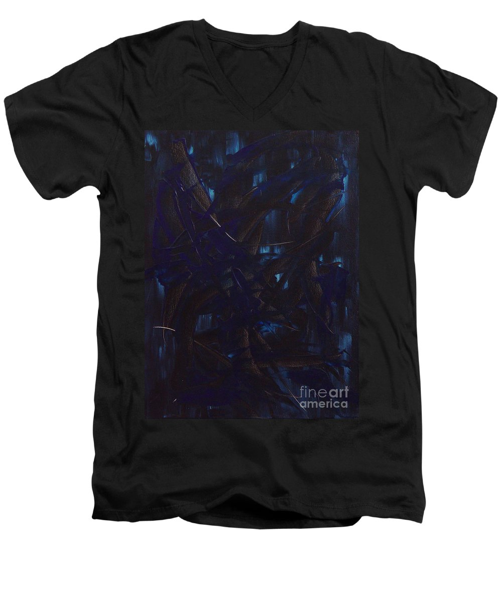 Abstract Men's V-Neck T-Shirt featuring the painting Expectations Blue by Dean Triolo