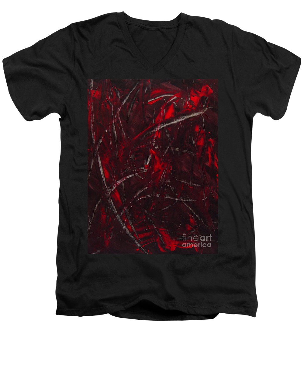 Abstract Men's V-Neck T-Shirt featuring the painting Expectations Red by Dean Triolo