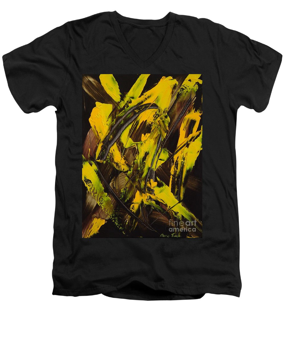 Abstract Men's V-Neck T-Shirt featuring the painting Expectations Yellow by Dean Triolo