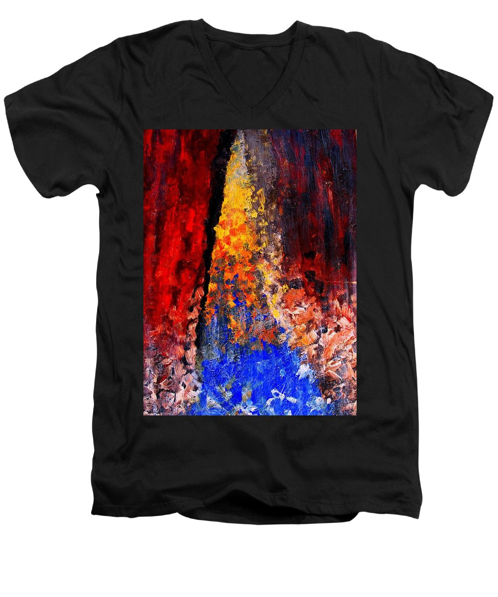 Abstract Men's V-Neck T-Shirt featuring the painting Falling by Ian MacDonald