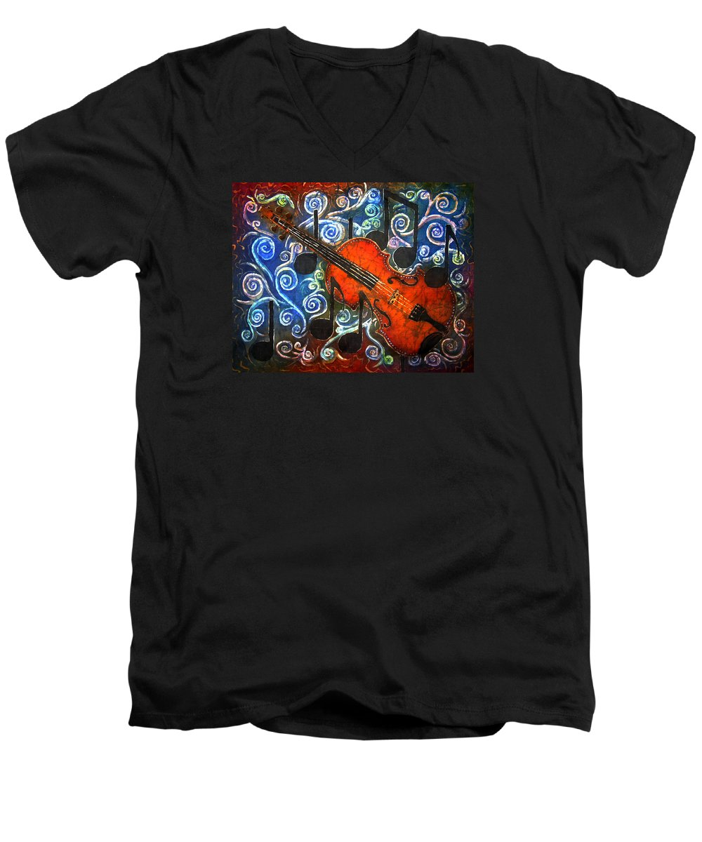 Fiddle Men's V-Neck T-Shirt featuring the painting Fiddle - Violin by Sue Duda