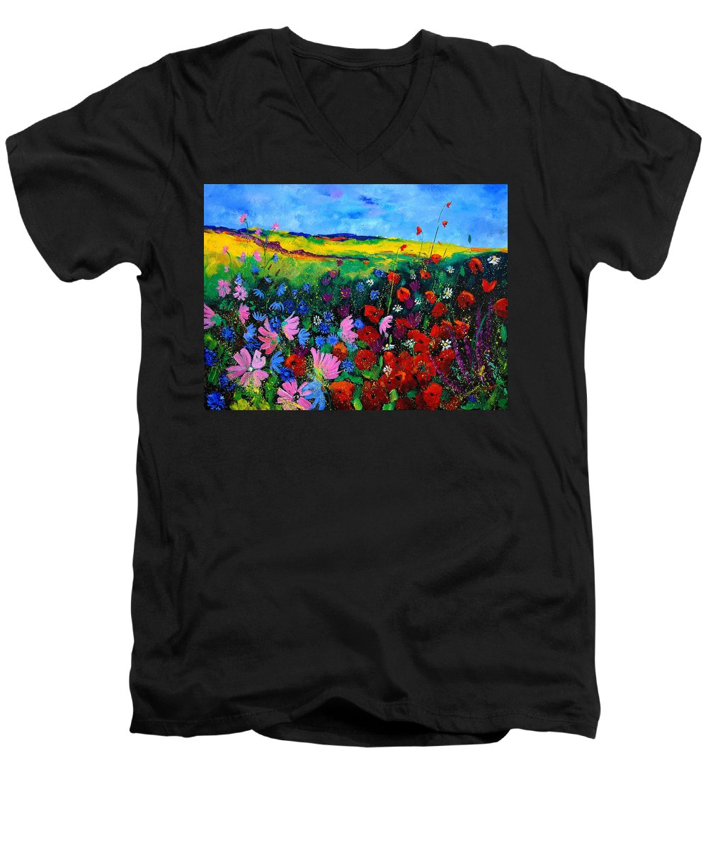 Poppies Men's V-Neck T-Shirt featuring the painting Field Flowers by Pol Ledent