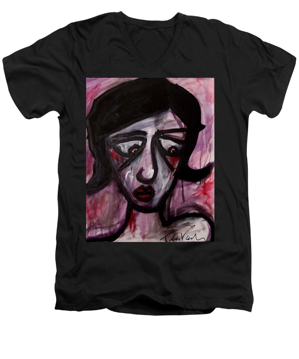 Portait Men's V-Neck T-Shirt featuring the painting Finals by Thomas Valentine