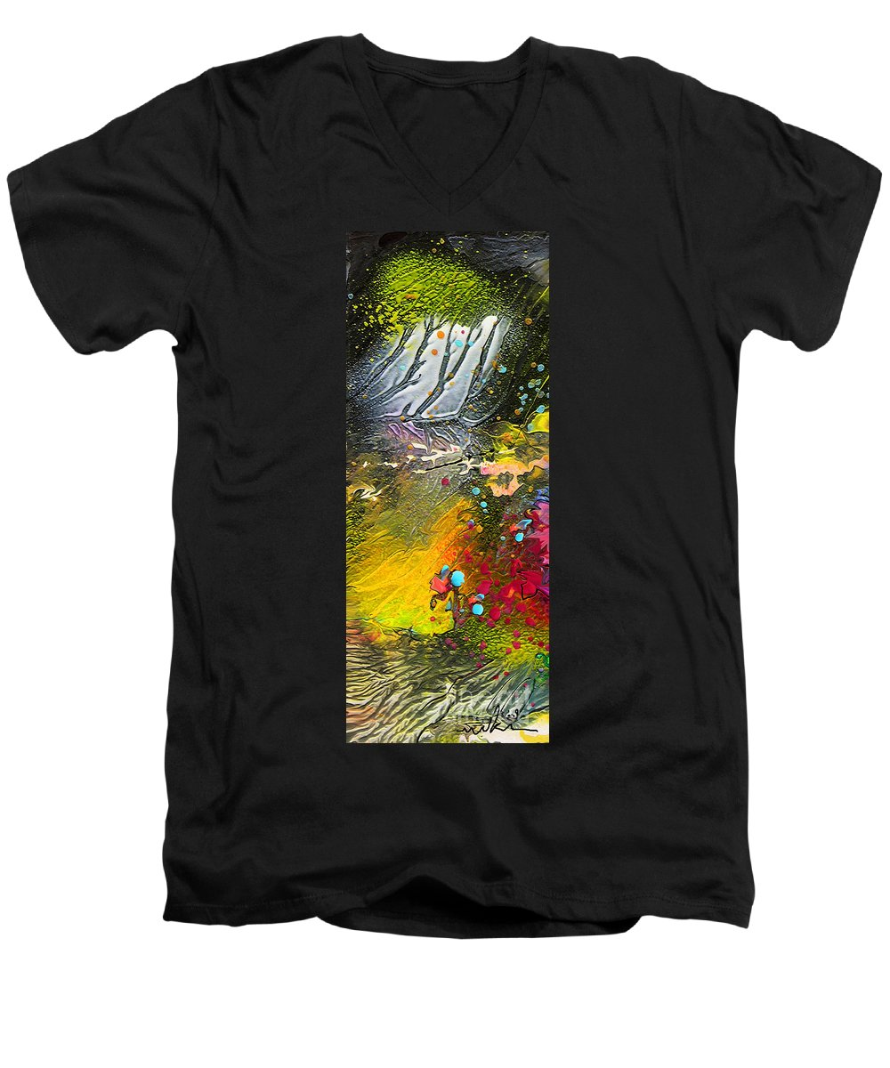 Miki Men's V-Neck T-Shirt featuring the painting First Light by Miki De Goodaboom