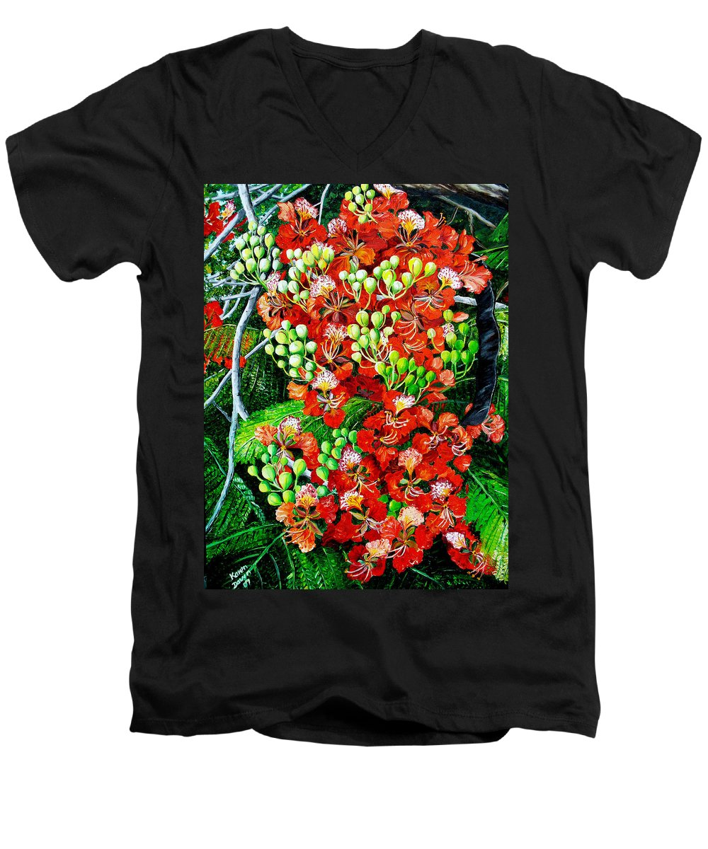 Royal Poincianna Painting Flamboyant Painting Tree Painting Botanical Tree Painting Flower Painting Floral Painting Bloom Flower Red Tree Tropical Paintinggreeting Card Painting Men's V-Neck T-Shirt featuring the painting Flamboyant In Bloom by Karin Dawn Kelshall- Best