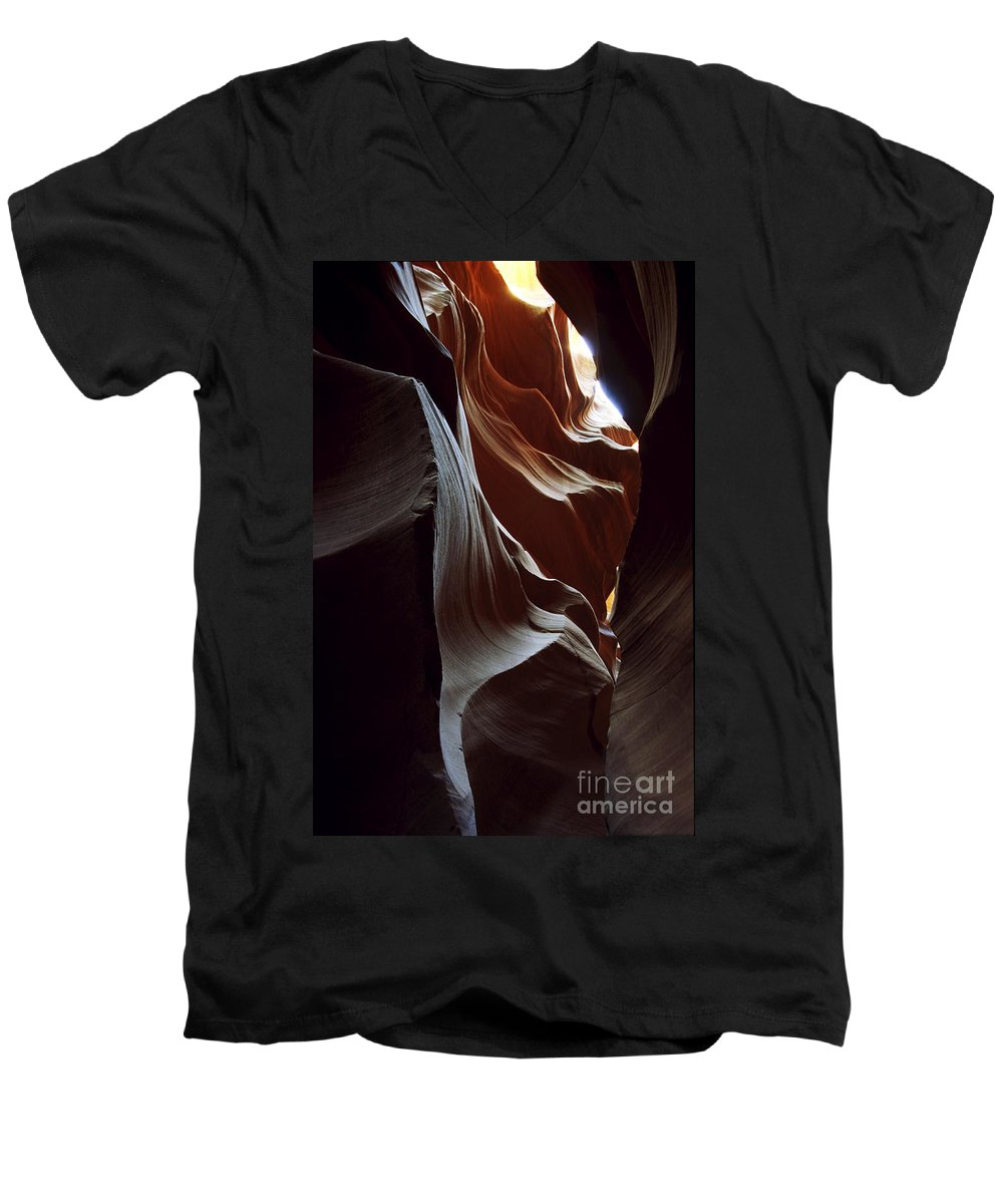 Antelope Canyon Men's V-Neck T-Shirt featuring the photograph Follow The Light by Kathy McClure