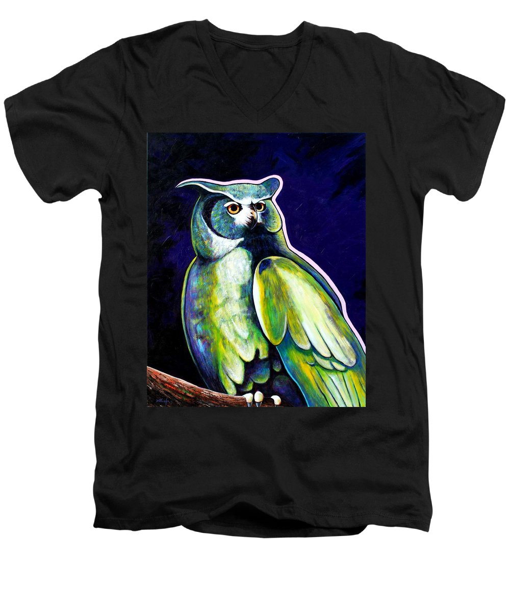 Owl Men's V-Neck T-Shirt featuring the painting From The Shadows by Joe Triano