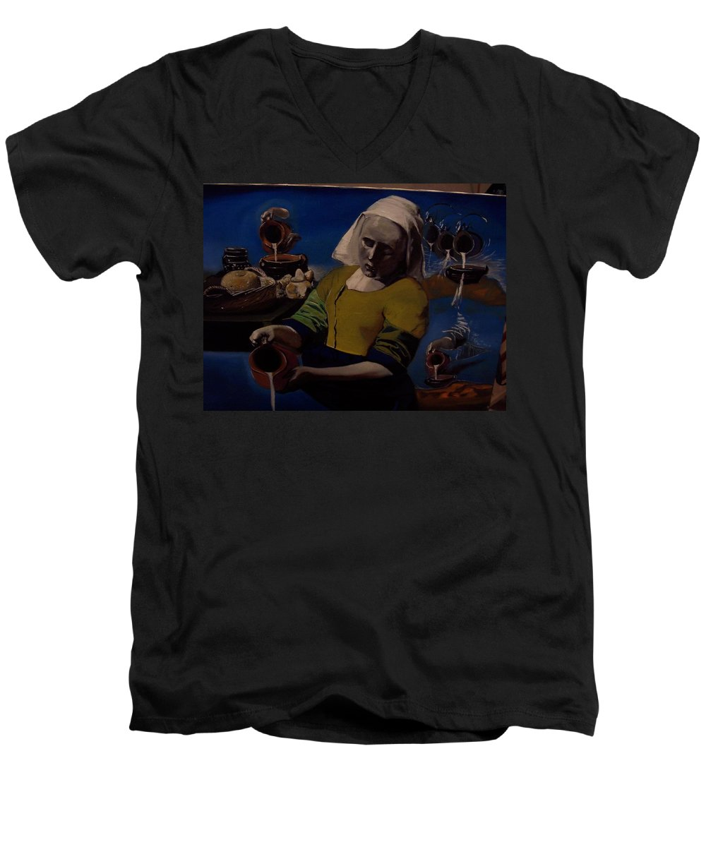 Men's V-Neck T-Shirt featuring the painting Geological Milk Maid Anthropomorphasized by Jude Darrien