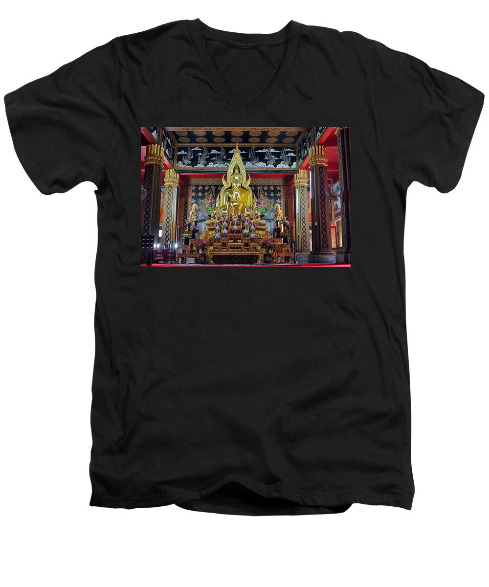 3scape Men's V-Neck T-Shirt featuring the photograph Golden Buddha by Adam Romanowicz