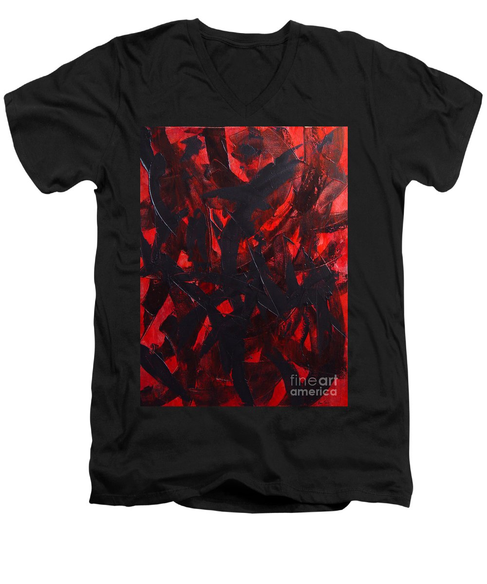 Abstract Men's V-Neck T-Shirt featuring the painting Good Bye by Dean Triolo