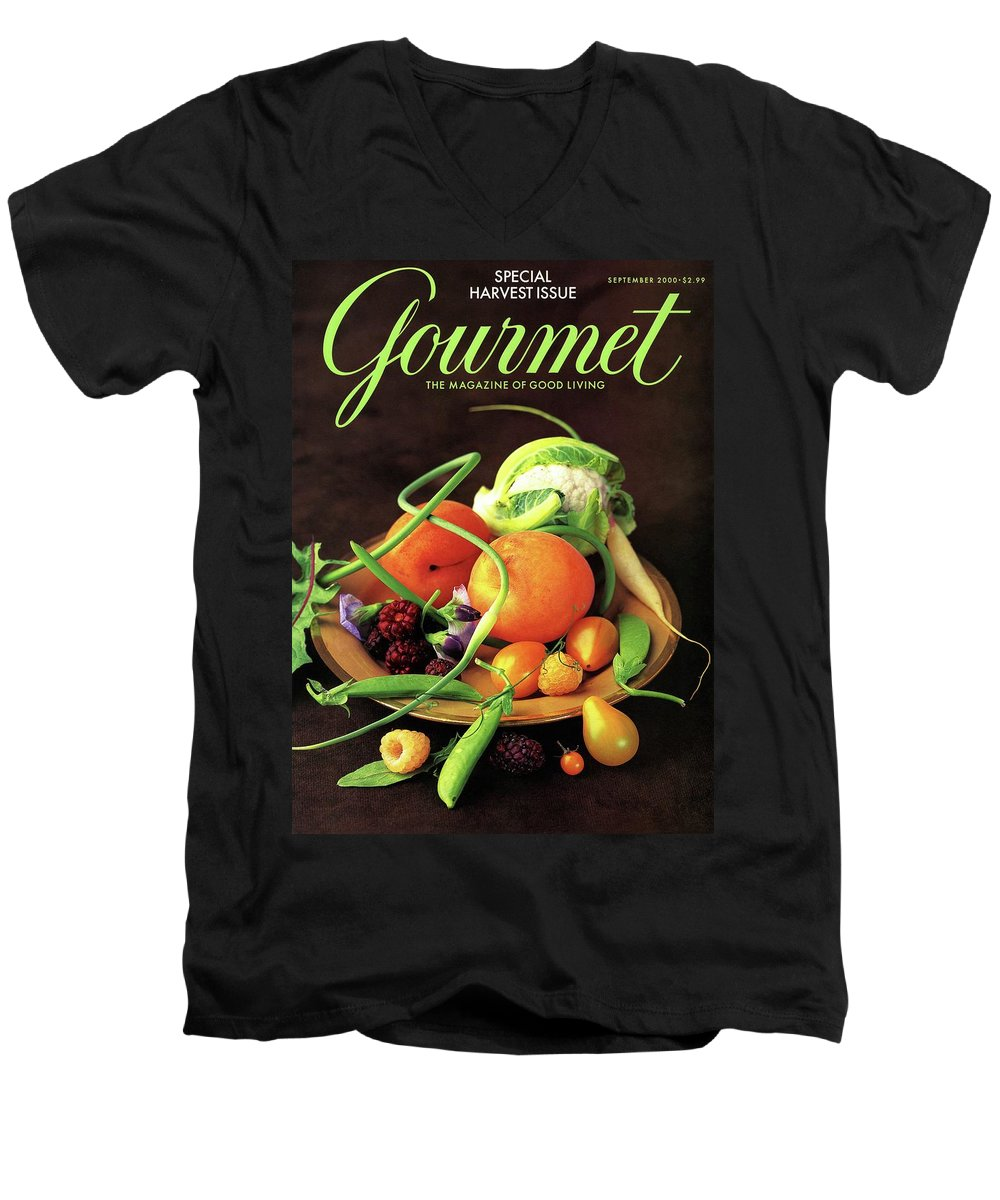 Food Men's V-Neck T-Shirt featuring the photograph Gourmet Cover Featuring A Variety Of Fruit by Romulo Yanes