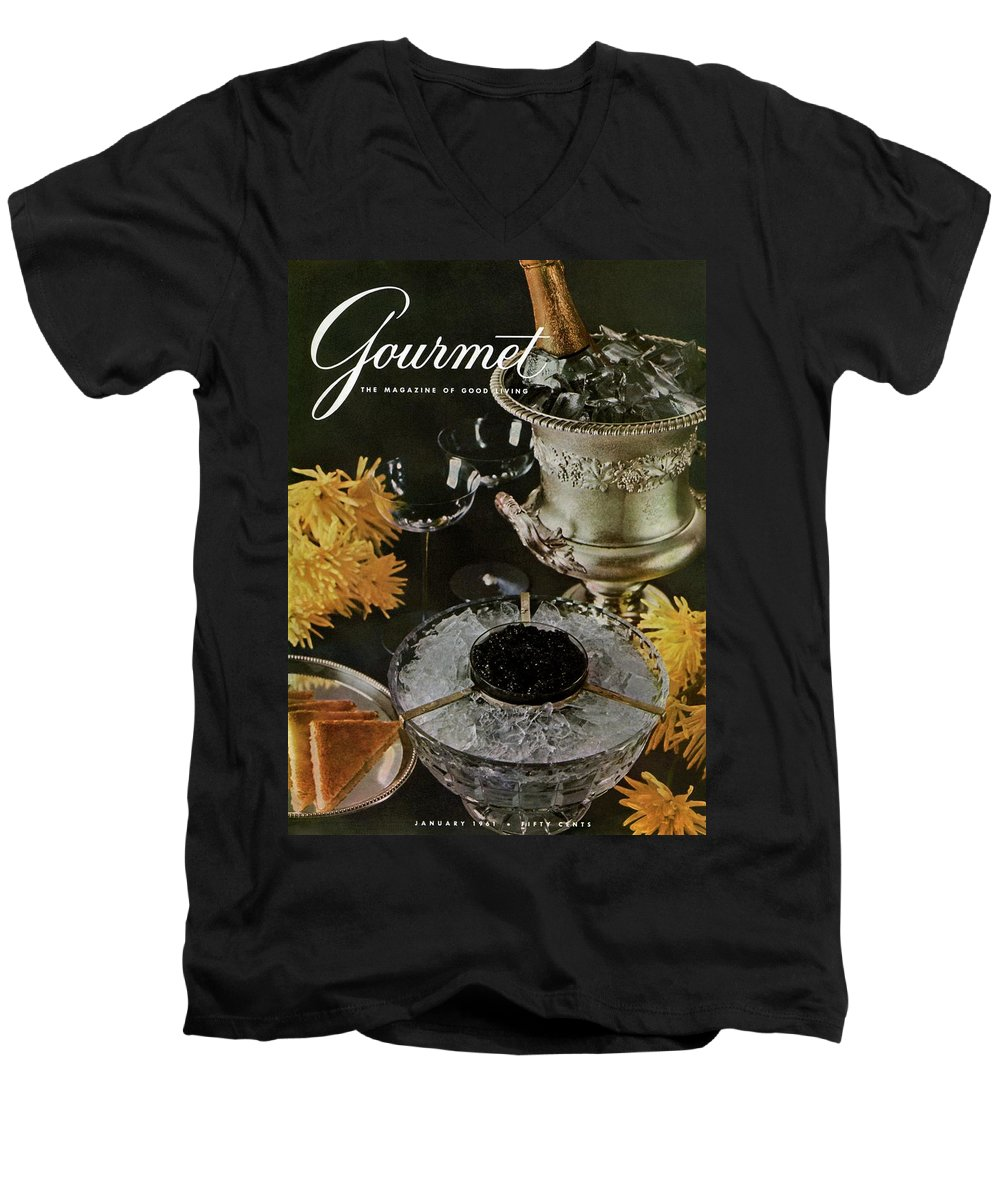 Food Men's V-Neck T-Shirt featuring the photograph Gourmet Cover Featuring A Wine Cooler by Arthur Palmer