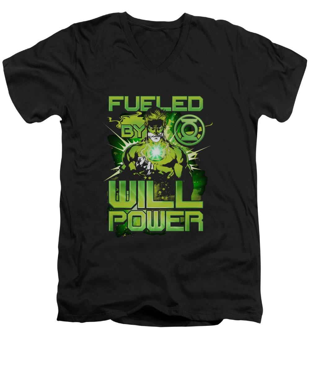 Green Lantern Men's V-Neck T-Shirt featuring the digital art Green Lantern - Fueled by Brand A