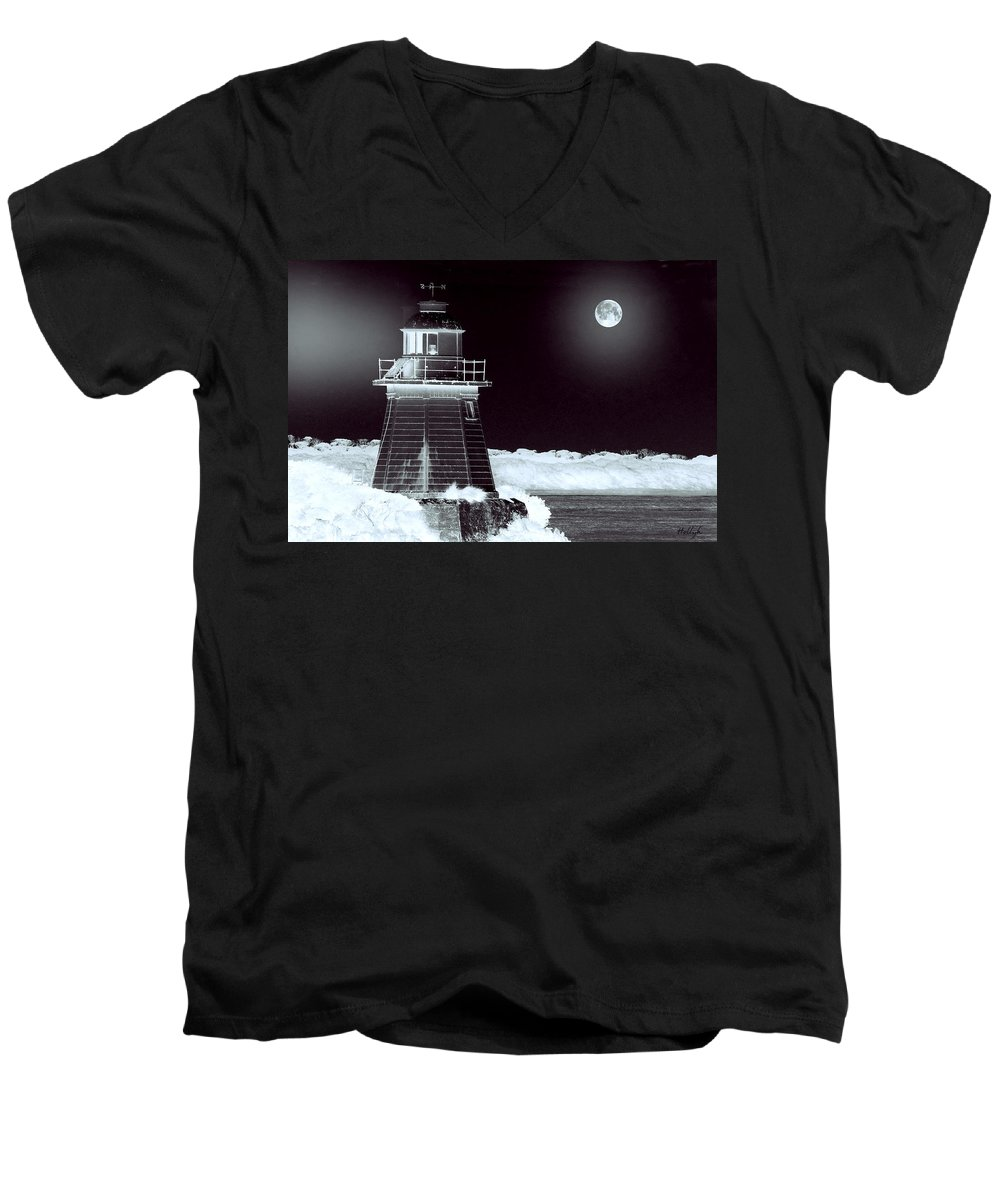 Landscapes Men's V-Neck T-Shirt featuring the photograph Guiding Lights by Holly Kempe