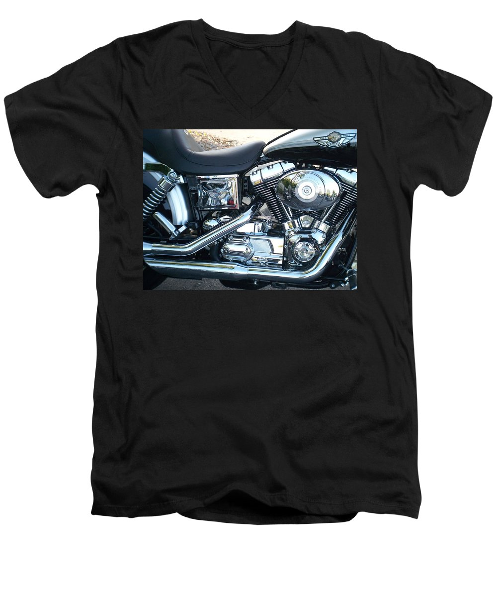 Motorcycles Men's V-Neck T-Shirt featuring the photograph Harley Black And Silver Sideview by Anita Burgermeister