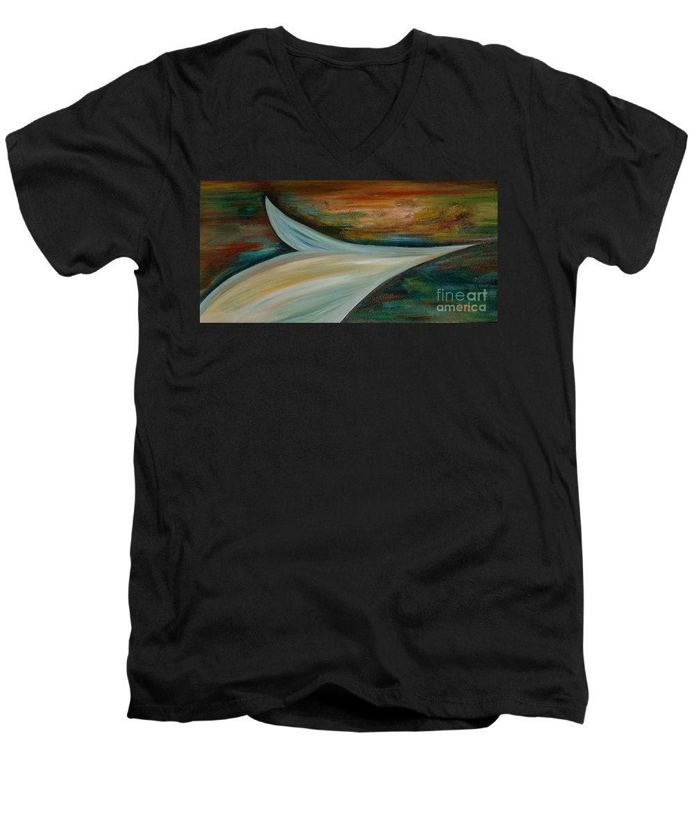 Abstract Men's V-Neck T-Shirt featuring the painting Heaven by Silvana Abel