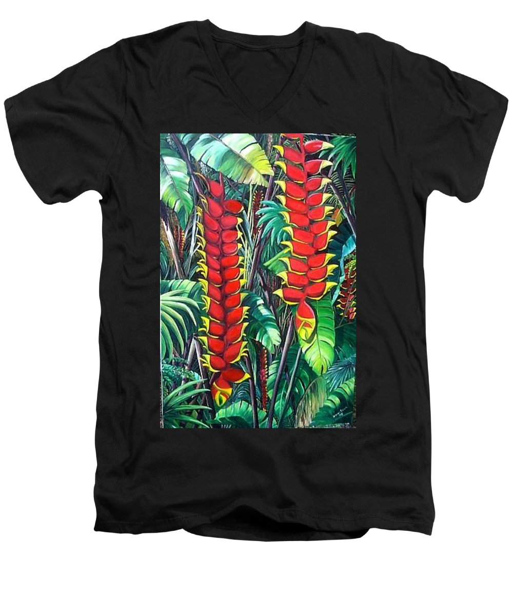 Heliconia Painting Hanging Red Heliconia Tropical Painting Men's V-Neck T-Shirt featuring the painting Heliconia Rostrata by Karin Dawn Kelshall- Best