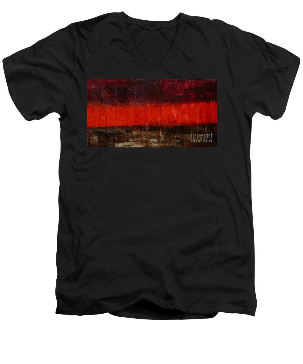 Modern Art Men's V-Neck T-Shirt featuring the painting High Energy by Silvana Abel