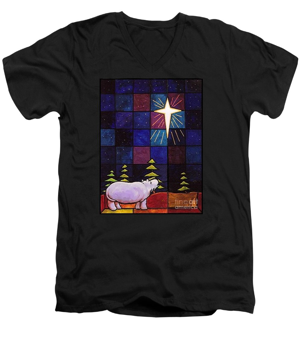 Christmas Men's V-Neck T-Shirt featuring the painting Hippo Awe And Wonder by Jim Harris