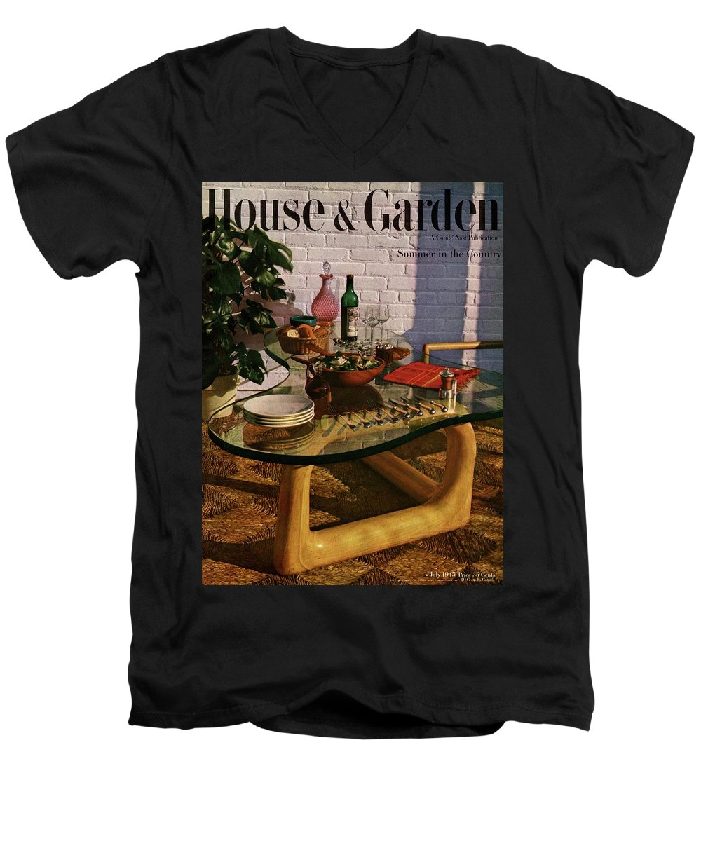 House And Garden Men's V-Neck T-Shirt featuring the photograph House And Garden Cover Featuring Brunch by John Rawlings